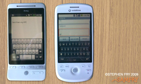The Hero's keyboard (left) is closer to the iPhone's in appearance and an improvement on the Magic's (left).